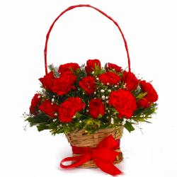 Basket of Fifteen Red Roses and Red Carnations