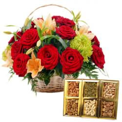 Basket of Flowers with Dryfruits