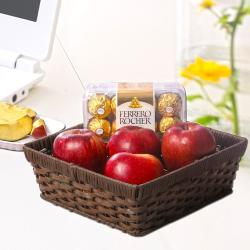Basket of Fresh Apples with Rocher Chocolates