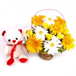 Basket of Lovely Yellow and White Flowers with Teddy Bear