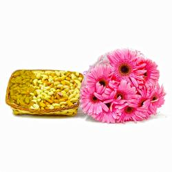 Basket of Mix Dry Fruits with 10 Pink Gerberas Combo