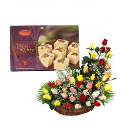Basket of Mix Roses with Soan Papdi