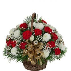 Basket Of Red & White Carnations