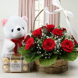 Basket of Roses with Teddy and Ferrero Rocher Chocolate