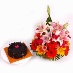 Basket of Seasonal Mix flowers with Chocolate Cake