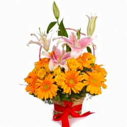 Basket of Yellow Gerberas, Roses and Pink Lilies
