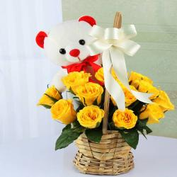Basket of Yellow Roses with Teddy Bear