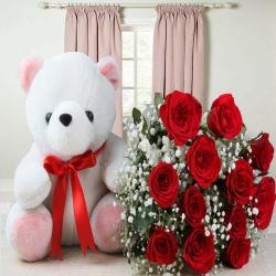 Beautiful Cute Teddy Bear and Red Roses Bouquet