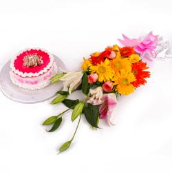 Beautiful Exotic Flowers with Strawberry Cake