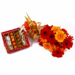 Beautiful Fifteen Gerberas Bouquet and Box of Assorted Sweets