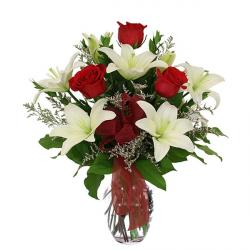 Beautiful Red Roses with White Lilies