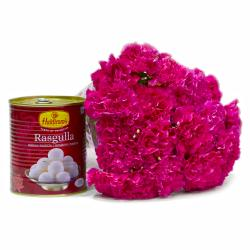 Bengali Rasgullas with Bunch of 15 Pink Carnations