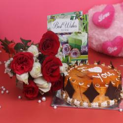 Best Wishes Combo of Roses and Cake