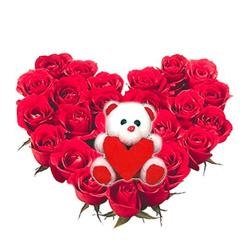 Big Teddy and 25 Roses heart basket