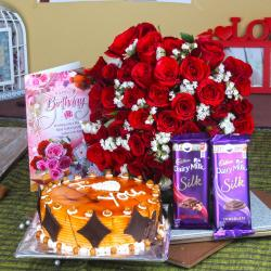 Birthday Bouquet of Red Roses with Eggless Cake Hamper