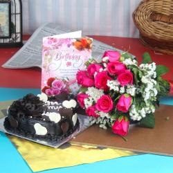 Birthday Cake Hamper of Pink Roses and Greeting Card