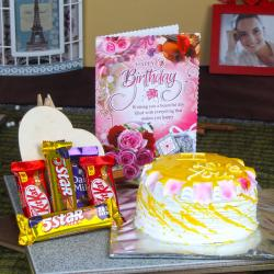 Birthday Card Hamper of Pineapple Cake and Assorted Chocolate Bars