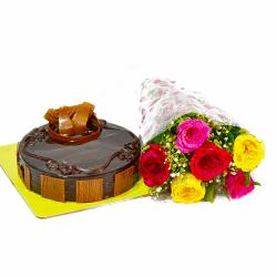 Birthday Combo of Colorful Roses and Chocolate Cake