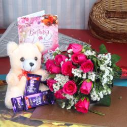 Birthday Greetings with Teddy and Dairymilk chocolates