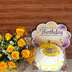 Birthday Pineapple Cake with Greeting Card and Yellow Roses Bouquet