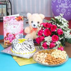 Birthday Roses and Cake Hamper