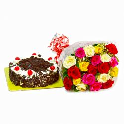 Birthday Surprise Special of Multi Color Roses with Blackforest Cake