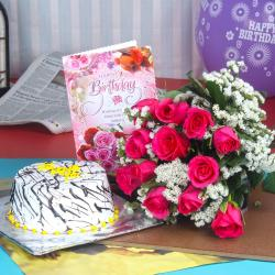 Birthday Vanilla Cake with Roses and Greeting card