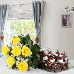 Black Forest Cake and Bouquet of Yellow Roses