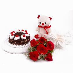 Black Forest Cake and Cute Teddy Bear with Six Red Roses