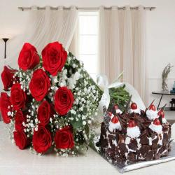 Black Forest Cake and Red Roses Bouquet