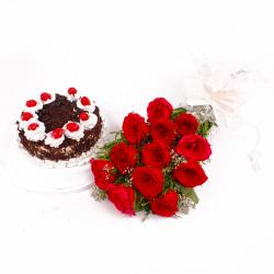 Black Forest Cake with Dozen Red Roses