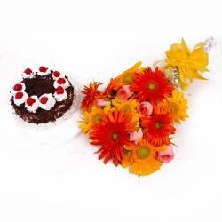 Black Forest Cake with Mix Flowers Bouquet