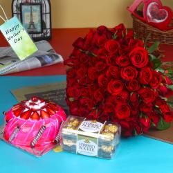 Blooming Hundred Roses Bouquet with Chocolate and Cake on Mothers Day