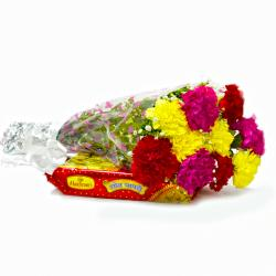 Bouquet of 10 Mix Carnations with Box of Soan Papdi