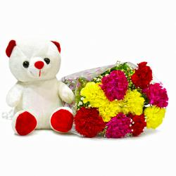 Bouquet of 10 Mix Carnations with Cute Soft Toy