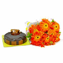 Bouquet of  10 Orange Gerberas and Chocolate Cake