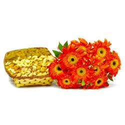 Bouquet of 10 Orange gerberas with Basket of Assorted DryFruits