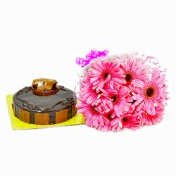 Bouquet of 10 Pink Gerberas and Chocolate Cake