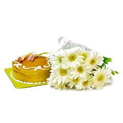 Bouquet of 10 White Gerberas with Butterscotch Cake