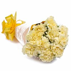 Bouquet of 10 Yellow Carnations Tissue Wrapped