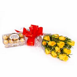 Bouquet of 12 Friendly Yellow Roses and Ferrero Rocher Chocolates