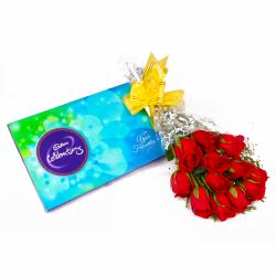 Bouquet of 12 Romantic Red Roses and Cadbury Celebration Chocolate Box