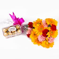 Bouquet of 15 Mix Carnations with Gerberas and Ferrero Rocher Chocolates