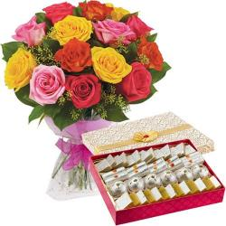Bouquet of 15 Mix Roses with Assorted Sweet Box