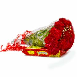 Bouquet of 15 Red Carnations with Box of Soan Papdi
