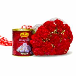Bouquet of 15 Red Carnations with Mouthmelting Rasgullas
