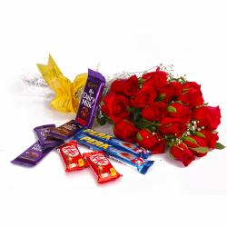 Bouquet of 15 Red Roses and Cadbury Assorted Chocolate Bars