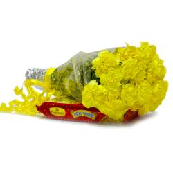 Bouquet of 15 Yellow Carnations with Box of Soan Papdi