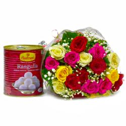 Bouquet of 20 Mix Lovely Roses with Bengali Sweet Rasgullas