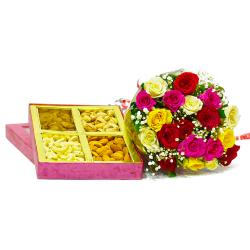 Bouquet of 20 Mix Roses with Box of Assorted Dry Fruits